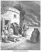 Job Hearing of His Misfortune Job 1:20-22 From the book 'Bible Gallery' Illustrated by Gustave Dore with Memoir of Dore and Descriptive Letter-press by Talbot W. Chambers D.D. Published by Cassell & Company Limited in London and simultaneously by Mame in Tours, France in 1866