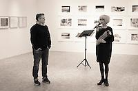 """Jannik Abel (t.v.) og Anne Standal åpner utstillingen """"Arven"""" på KHÅK i Ålesund.<br /> Foto: Svein Ove Ekornesvåg"""