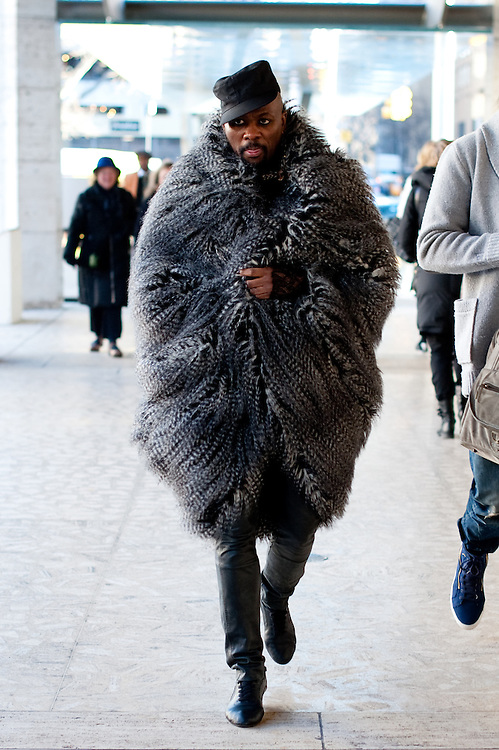 Man in a Feather Coat, Outside Rebecca Minkoff