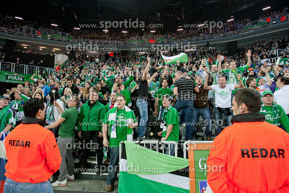 Fans of Olimpija during ice-hockey match between KHL Medvescak Zagreb and HDD Tilia Olimpija in 43rd Round of EBEL league, on Januar 17, 2012 at Arena Zagreb, Zagreb, Croatia. (Photo By Matic Klansek Velej / Sportida)