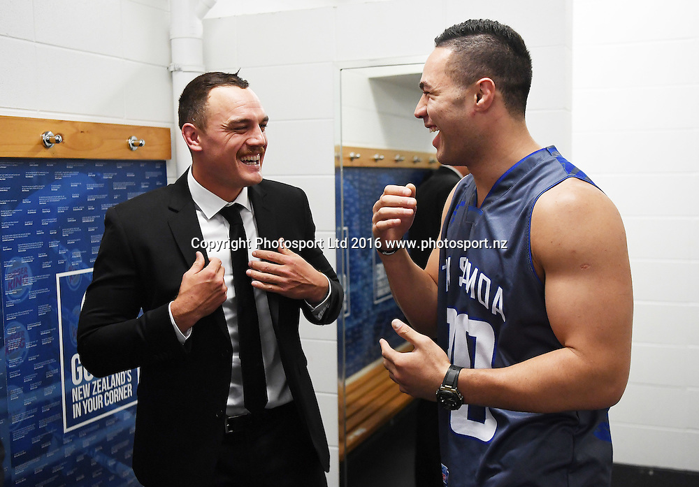 Israel Dagg in the dressing room with New Zealand Heavyweight boxer Joseph Parker ahead of his fight with French Cameroon boxer Carlos Takam. IBF eliminator. Burger King Road to the Title by Duco Boxing. Vodafone Events Centre, Saturday 21 May 2016. Auckland, New Zealand. © Copyright Photo: Andrew Cornaga / www.photosport.nz