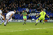 Forest Green Rovers Omar Bugiel(11) shoots at goal saved by Tranmere Rovers goalkeeper Scott Davies(1) during the Vanarama National League match between Tranmere Rovers and Forest Green Rovers at Prenton Park, Birkenhead, England on 11 April 2017. Photo by Shane Healey.