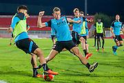 NOVI SAD - 17-08-2016, Vojvodina - AZ, Karadjordje Stadion, training, persconferentie, AZ speler Alireza Jahanbakhsh, AZ speler Robert Muhren