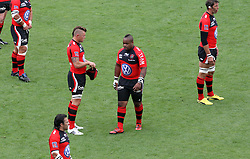 "Mathieu Bastareaud (c), Simon Shaw (r) and Johann ""Joe"" van Niekerk of Toulon line up before the French Top 14 Semi Final match between ASM Clermont Auvergne and RC Toulon at the Stade de Toulouse on June 3, 2012 in Toulouse, France."