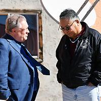Gallup attorney David Jordan, left, talks to Ramah Chapter President David Jose as the pair take a break outside the Ramah Courthouse Monday in Ramah.