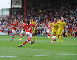 Bristol City's Kieran Agard scores a penalty  - Photo mandatory by-line: Joe Meredith/JMP - Mobile: 07966 386802 - 27/09/2014 - SPORT - Football - Bristol - Ashton Gate - Bristol City v MK Dons - Sky Bet League One