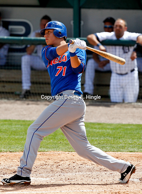 March 14, 2012; Lakeland, FL, USA; New York Mets shortstop Wilmer Flores (71) against the Detroit Tigers during a spring training game at Joker Marchant Stadium. Mandatory Credit: Derick E. Hingle-US PRESSWIRE