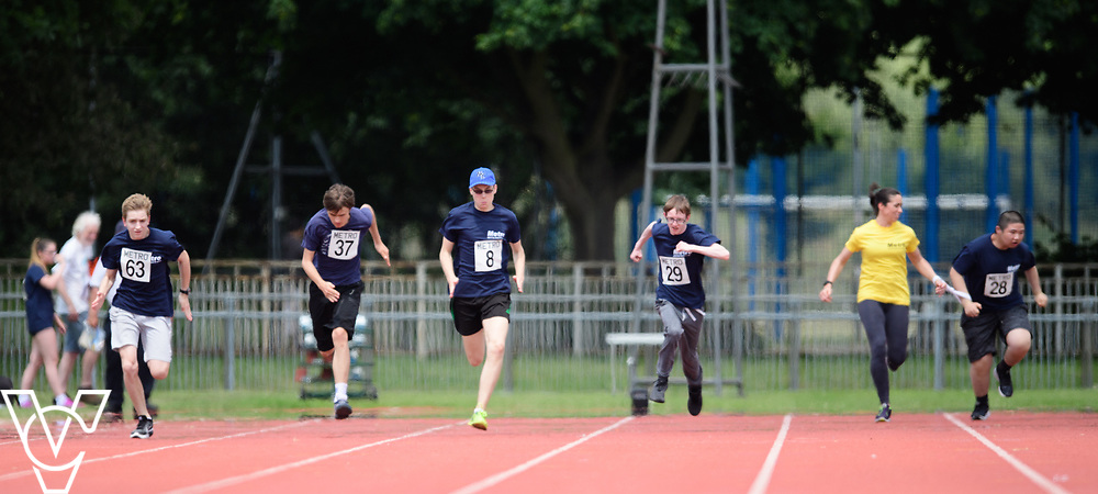 Metro Blind Sport's 2017 Athletics Open held at Mile End Stadium.  100m.  From left, Sam Crowhurst (PLEASE CHECK), Andrew Lancaster, Luke Boulding, Steven Magee and Junjie Xu with guide runner<br /> <br /> Picture: Chris Vaughan Photography for Metro Blind Sport<br /> Date: June 17, 2017