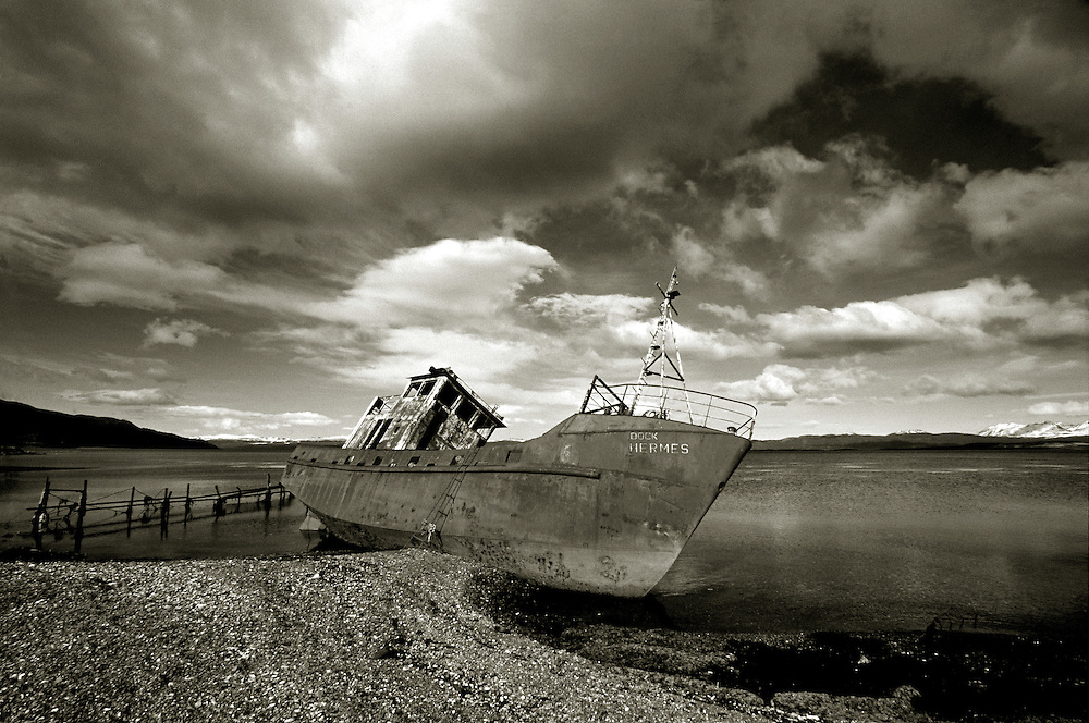 The wreck of the Hermes, Ushuaia, Tierra del Fuego, Argentina