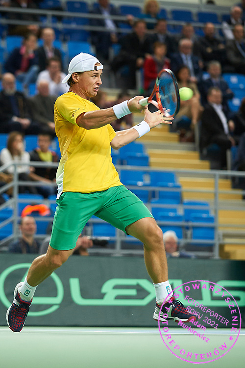 Ricardas Berankis from Lithuania in action during first day the Davies Cup / Group I Europe / Africa 1st round tennis match between Poland and Lithuania at Orlen Arena on March 6, 2015 in Plock, Poland<br /> Poland, Plock, March 6, 2015<br /> <br /> Picture also available in RAW (NEF) or TIFF format on special request.<br /> <br /> For editorial use only. Any commercial or promotional use requires permission.<br /> <br /> Mandatory credit:<br /> Photo by &copy; Adam Nurkiewicz / Mediasport