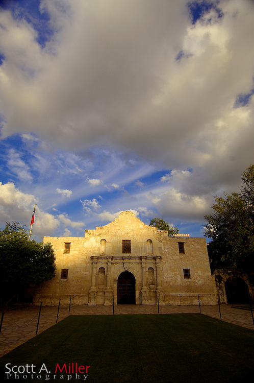 September 6, 2007, San Antonio, Texas; The Alamo (San Antonio de Valero Mission) is a former mission and fortress compound. The compound, which originally comprised a sanctuary and surrounding buildings, was built by the Spanish Empire in the 18th century for the education of local Native Americans after their conversion to Christianity. After its abandonment as a mission, it was used as a fortress in the 19th century and was the scene of several military actions, including most notably the 1836 Battle of the Alamo, one of the pivotal battles between the forces of the Republic of Texas and Mexico during the Texas Revolution....©2007 Scott A. Miller