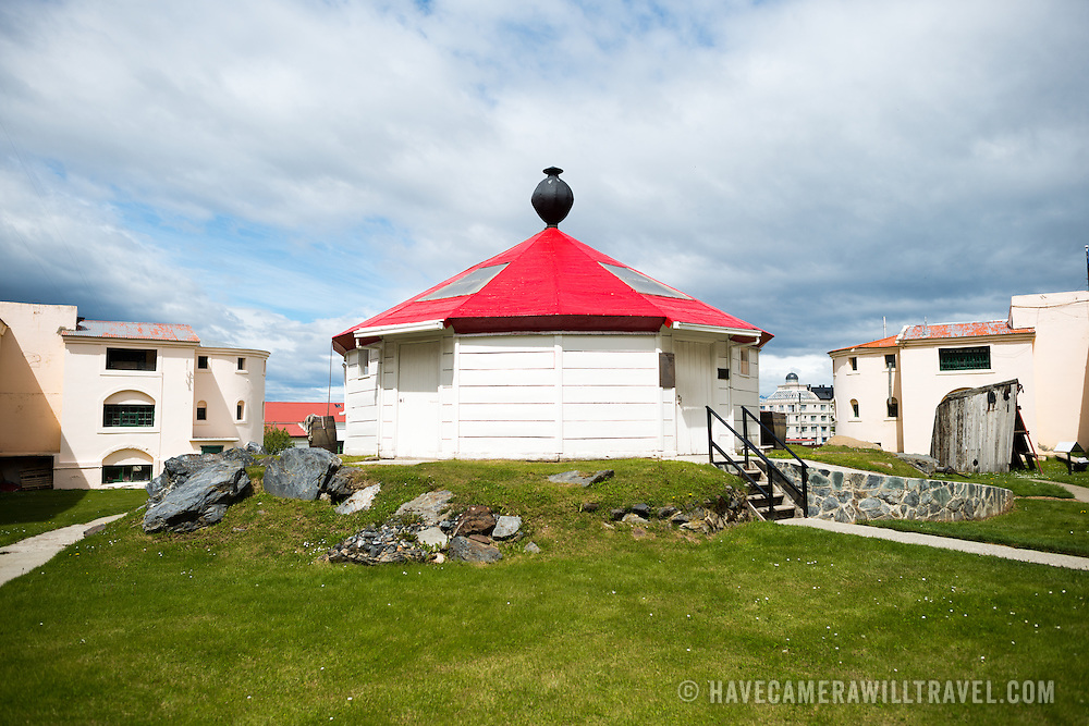 A replica of the San Juan de Salvamento lighthouse on display at the the Maritime Museum of Ushuaia. The museum consists of several wings devoted to maritime history, Antarctic exploration, an art gallery, and a policy and penitentiary museum. The complex is housed in an historic prison building and uses the original cells and offices as exhibit spaces.