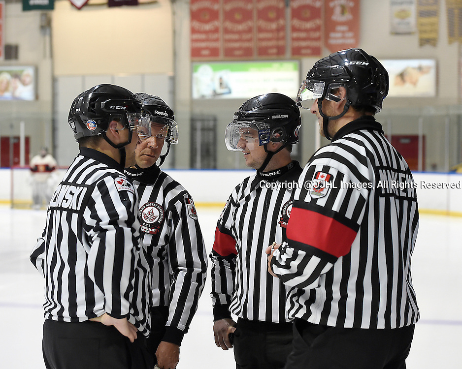 WHITBY, ON - Oct 9, 2015 : Ontario Junior Hockey League game action between Newmarket and Whitby, OHA Officials  Matt Arbour,  Andrew Markew, Sheldon Berezowski and Ken Cornelius before the start of the second period.<br /> (Photo by Andy Corneau / OJHL Images)