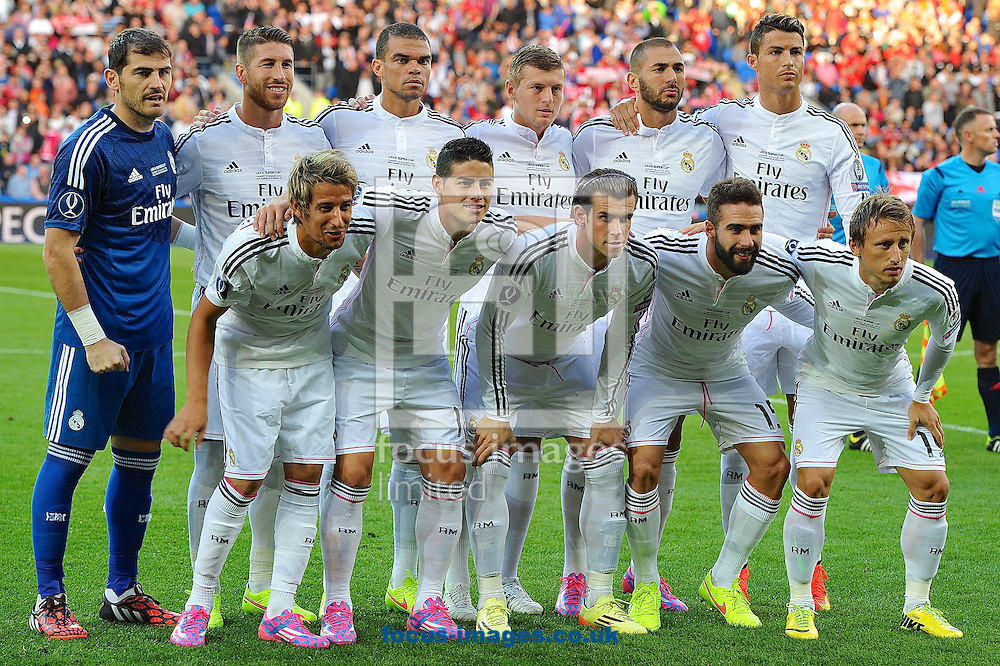 Real Madrid team lineup pictured ahead of the European Super Cup match at the Cardiff City Stadium, Cardiff<br /> Picture by Ian Wadkins/Focus Images Ltd +44 7877 568959<br /> 12/08/2014