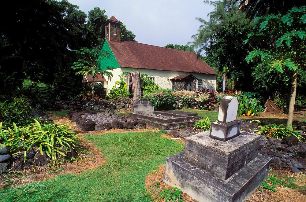 Congregational church and cemetery where Charles Lindbergh is buried, Kipahulu, Island of Maui, Hawaii USA