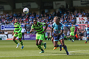 Forest Green Rovers Manny Monthe(6) and Wycombe Wanderers Anthony Stewart(5) chase the ball during the EFL Sky Bet League 2 match between Wycombe Wanderers and Forest Green Rovers at Adams Park, High Wycombe, England on 2 September 2017. Photo by Shane Healey.