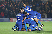 AFC Wimbledon midfielder Mitchell (Mitch) Pinnock (11) celebrating after scoring goal to make it 2-1 during the EFL Sky Bet League 1 match between AFC Wimbledon and Southend United at the Cherry Red Records Stadium, Kingston, England on 24 November 2018.