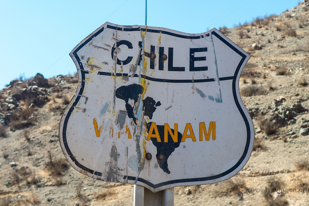 """Sign with """"Via Panam"""", Panamerican Highway, Chile"""