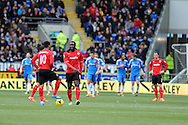 Cardiff city's Fraizer Campbell and Kenwyne Jones are dejected waiting for restart after Hull's 2nd goal. Barclays Premier league, Cardiff city v Hull city match at the Cardiff city Stadium in Cardiff, South Wales on Saturday 22nd Feb 2014.<br /> pic by Andrew Orchard, Andrew Orchard sports photography.