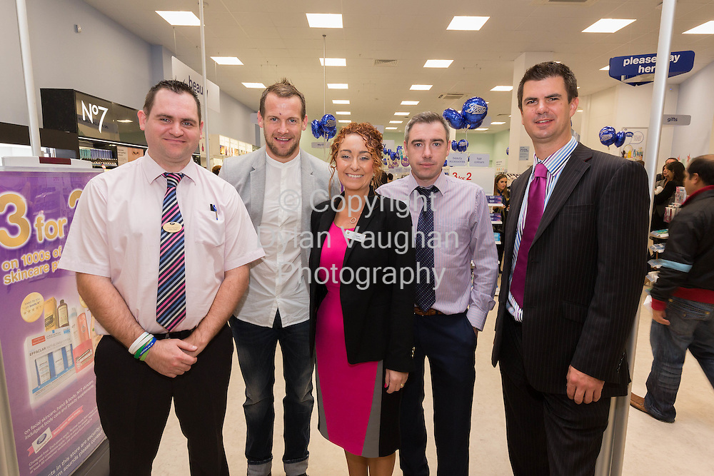 Repro free No Charge for Repro<br /> 1-10-14<br /> <br />  <br /> Pictured at the official opening of the new Boots store at Mac Donagh Junction Shopping Centre in Kilkenny on the 1st of October was from left Store Manger John Paul Walsh, All Ireland Kilkenny hurler Jackie Tyrrell, Marion Acreman, Centre Manger Mac Donagh Junction, Denis Carroll, Operations Manager, Mac Donagh Junction and Richard Bradley Managing Director, Boots Ireland.<br /> <br /> <br /> <br /> Picture Dylan Vaughan