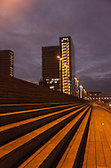 Paris, the BNF , national french library at dusk, the giant stairs / La BNF la nuit, les grands escaliers