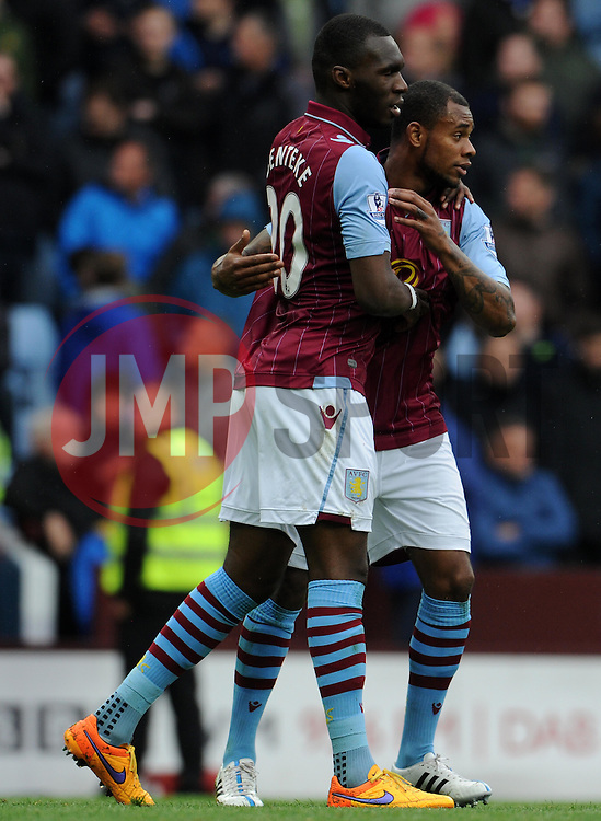 Aston Villa's Christian Benteke celebrates his sides goal  - Photo mandatory by-line: Harry Trump/JMP - Mobile: 07966 386802 - 29/04/15 - SPORT - FOOTBALL - Birmingham - Villa Park - Aston Villa v Everton - Barclays Premier League