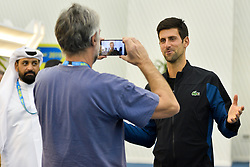 Novak Djokovic of Serbia speaks arrives to attend a press conference ahead of the ATP Qatar Open tennis tournament 2019 at the Khalifa International Tennis Compl?ex in Doha, capital of Qatar, on December 31, 2018. Qatar Open run from December 31,2018 to January 05, 2019  (Credit Image: © Yangyuanyong/Xinhua via ZUMA Wire)