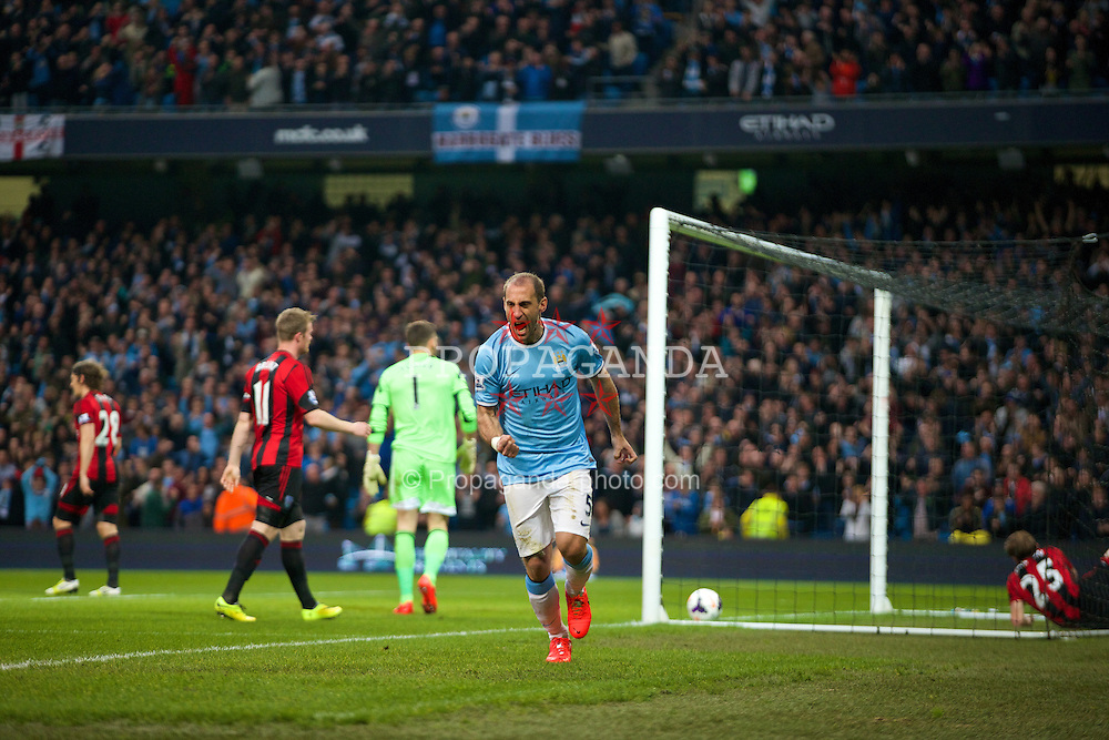 MANCHESTER, ENGLAND - Easter Monday, April 21, 2014: Manchester City's Pablo Zabaleta celebrates scoring the first goal against West Bromwich Albion during the Premiership match at the City of Manchester Stadium. (Pic by David Rawcliffe/Propaganda)