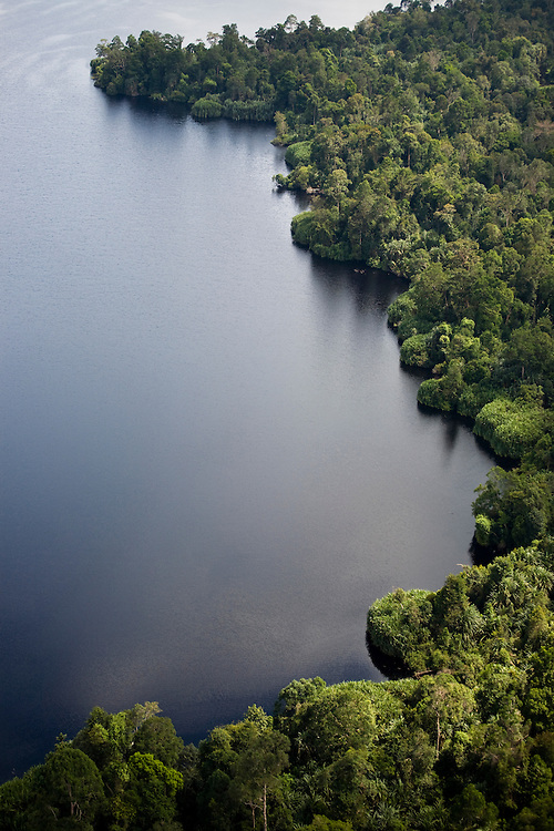 Some pristine forest remains around Lake Pulau Besar, Sumatra, Indonesia, but it is threatened by Acacia plantations, Aug. 30, 2008..Daniel Beltra/Greenpeace