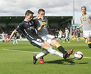 St Mirren's John McGinn can't stop his brother Dundee's Paul McGinn getting a cross in - St Mirren v Dundee, SPFL Premiership at St Mirren Park<br /> <br />  - &copy; David Young - www.davidyoungphoto.co.uk - email: davidyoungphoto@gmail.com