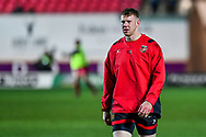Dragons' Jack Dixon during the pre match warm up<br /> <br /> Photographer Craig Thomas/Replay Images<br /> <br /> Guinness PRO14 Round 13 - Scarlets v Dragons - Friday 5th January 2018 - Parc Y Scarlets - Llanelli<br /> <br /> World Copyright &copy; Replay Images . All rights reserved. info@replayimages.co.uk - http://replayimages.co.uk