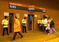Photo. Jed Wee.<br /> Manchester United v Charlton Atheltic, FA Barclaycard Premiership, 20/04/2004.<br /> At pockets in the stadium, security outnumbered spectators as police increased their presence amidst security fears.