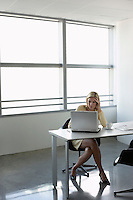 Business woman using laptop sitting at office desk