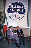 Roma Aprile 1994 ..Gianfranco Fini (Alleanza Nazionale) in attesa dei risultati delle elezioni politiche con Teodoro Buontempo..