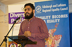 Pictured: Egyptian refugee journalist Abdul Hassan gave an empassioned plea for help for fellow refugees who want to contribute to Scotland<br /> <br /> SNP Brexit minister Mike Russell spoke at an Edinburgh and Lothians Regional Equality Council event which aimed to facilitate discussion between service providers in the public and third sectors, and asylum seekers and refugees in order to hear about the circumstances and needs.<br /> <br /> Ger Harley | EEm 6 December 2016
