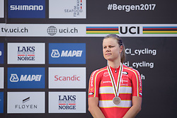Third place for Amalie Dideriksen at UCI Road World Championships Elite Women's Road Race 2017 in Bergen, Norway on September 23, 2017. (Photo by Sean Robinson/Velofocus)