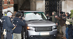 © London News Pictures. 25/04/2012. London, UK. Press surround A car carrying Rupert Murdoch and his wife Wendy Deng leaves The High Court in London on April 25, 2012 after Ruperrt Murdoch gave evidence to the Leveson inquiry.  Photo credit : Ben Cawthra /LNP
