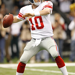 November 28, 2011; New Orleans, LA, USA; New York Giants quarterback Eli Manning (10) against the New Orleans Saints during the first quarter of a game at the Mercedes-Benz Superdome. Mandatory Credit: Derick E. Hingle-US PRESSWIRE
