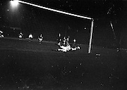 02/10/1963<br /> 10/02/1963<br /> 02 October 1963<br /> League of Ireland v English Football League at Dalymount Park, Dublin. Eamonn D'Arcy (Drumcondra), Irish Goalie saves a controversial penalty from Johnny Byrne (England, West Ham).