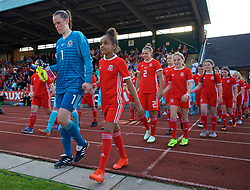 NEWPORT, WALES - Tuesday, June 12, 2018: Wales' goalkeeper Laura O'Sullivan walks out to face Russia during the FIFA Women's World Cup 2019 Qualifying Round Group 1 match between Wales and Russia at Newport Stadium. (Pic by David Rawcliffe/Propaganda)