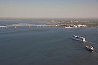 Aerial Photo of Carnival Cruise Lines Pride passenger ship sailing on innaugural sail into the Port of Baltimore Mayland Cruise Terminal near Key Bridge