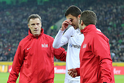 11.12.2014, Borussia Park, Moenchengladbach, GER, UEFA EL, Borussia Moenchengladbach vs FC Zuerich, Gruppe A, im Bild Ivan Kecojevic (FC Zuerich #25) wird enttaeuscht vom Platz gefuehrt // during the UEFA Europaleague Group A match between Borussia Moenchengladbach and FC Zuerich at the Borussia Park in Moenchengladbach, Germany on 2014/12/11. EXPA Pictures &copy; 2014, PhotoCredit: EXPA/ Eibner-Pressefoto/ Schueler<br /> <br /> *****ATTENTION - OUT of GER*****
