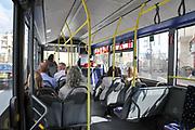 Inside a city bus. Paphos, Cyprus