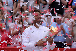 Spain's Rafael Nadal holds the trophy after beating Russia's Daniil Medvedev in the final of the Rogers Cup tennis tournament in Montreal, Sunday, August 11, 2019. Photo by Paul Chiasson/CP/ABACAPRESS.COM