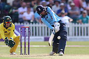Danielle Wyatt of England (28) launches the ball into the legside during the Royal London Women's One Day International match between England Women Cricket and Australia at the Fischer County Ground, Grace Road, Leicester, United Kingdom on 4 July 2019.