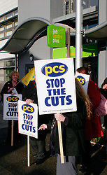 Public & Commercial Services trade union protest outside the new Acton Job Centre Plus the day it was opened by Secretary of State for Work & Pensions Alan Johnson London 2004