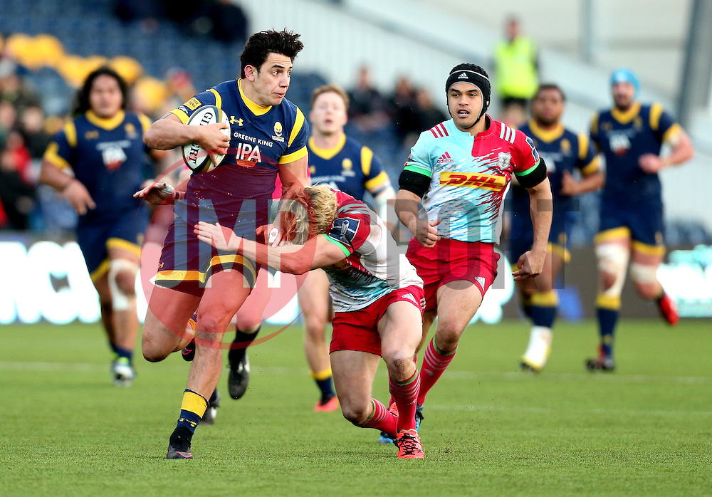 Bryce Heem of Worcester Warriors is tackled - Mandatory by-line: Robbie Stephenson/JMP - 28/01/2017 - RUGBY - Sixways Stadium - Worcester, England - Worcester Warriors v Harlequins - Anglo Welsh Cup