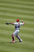 ANAHEIM, CA - JULY 10:  Catcher Jeff Mathis #5 of the Los Angeles Angels of Anaheim warms up before the game against the Seattle Mariners on July 10, 2011 at Angel Stadium in Anaheim, California. (Photo by Paul Spinelli/MLB Photos via Getty Images) *** Local Caption *** Jeff Mathis