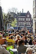 Spui, Menschen in Straßencafés, Amsterdam, Holland, Niederlande