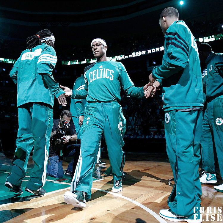 14 May 2012:  Boston Celtics point guard Rajon Rondo (9) is seen during the players introduction prior to the Philadelphia Sixers 82-81 victory over the Boston Celtics, in Game 2 of the Eastern Conference semifinals playoff series, at the TD Banknorth Garden, Boston, Massachusetts, USA.